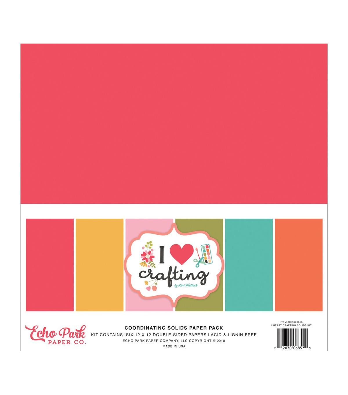 Echo Park Paper Co. I Heart Crafting 6 pk Double-sided Cardstock-Solids