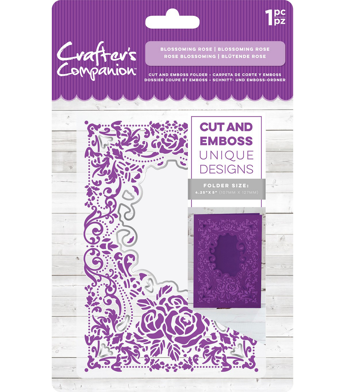 Crafter\u0027s Companion 4.25\u0027\u0027x5\u0027\u0027 Cut & Emboss Folder-Blossoming Rose