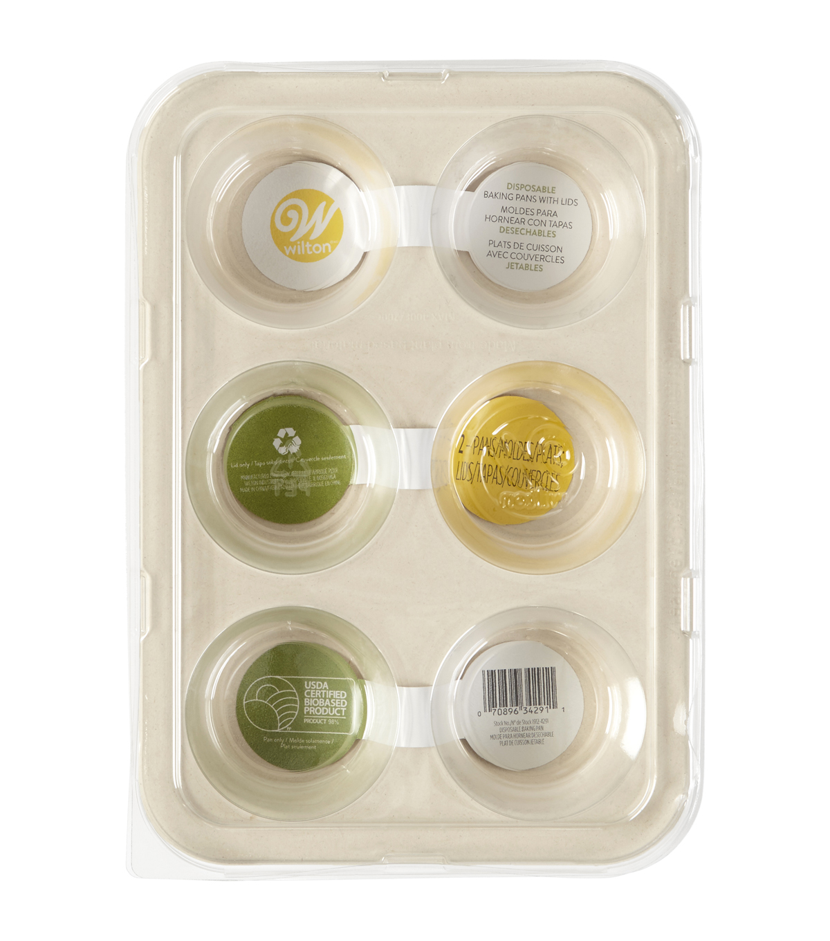 Wilton 2 pk 6-cavity Disposable Muffin Baking Pans with Lids