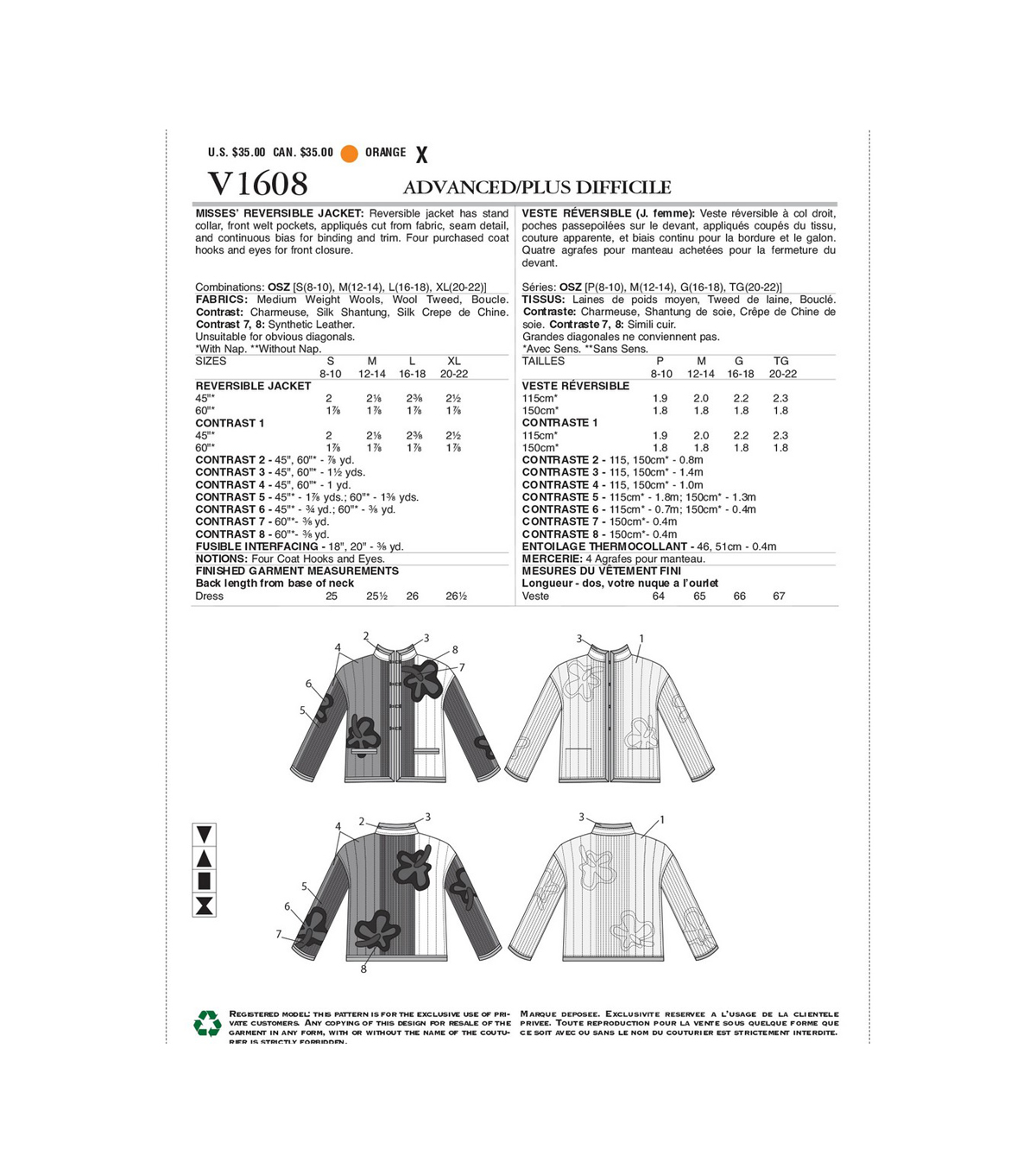 Vogue Pattern V1608 Misses\u0027 Reversible Jacket-Size S-M-L-XL