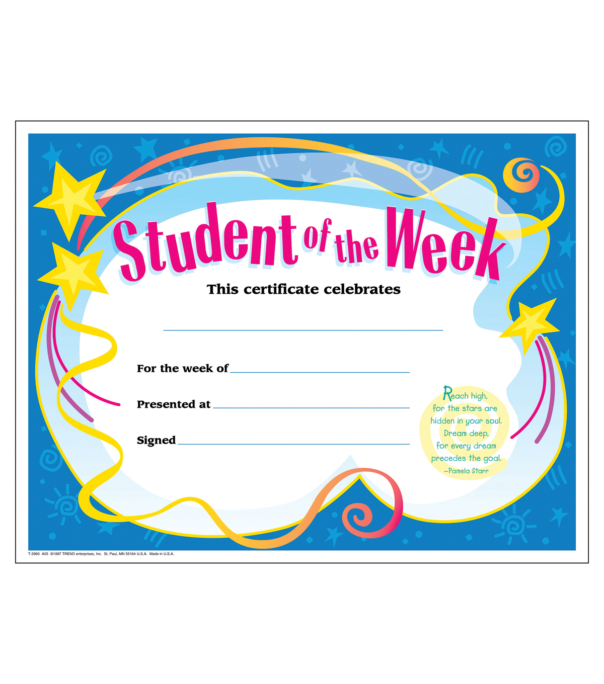 Student of The Week Colorful Classics Certificates, 30 Per Pack