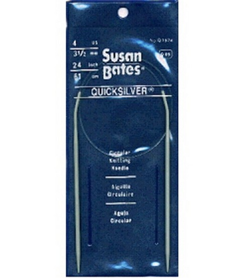 Susan Bates Quicksilver Circular Knitting Needles 24\u0022-Size 4