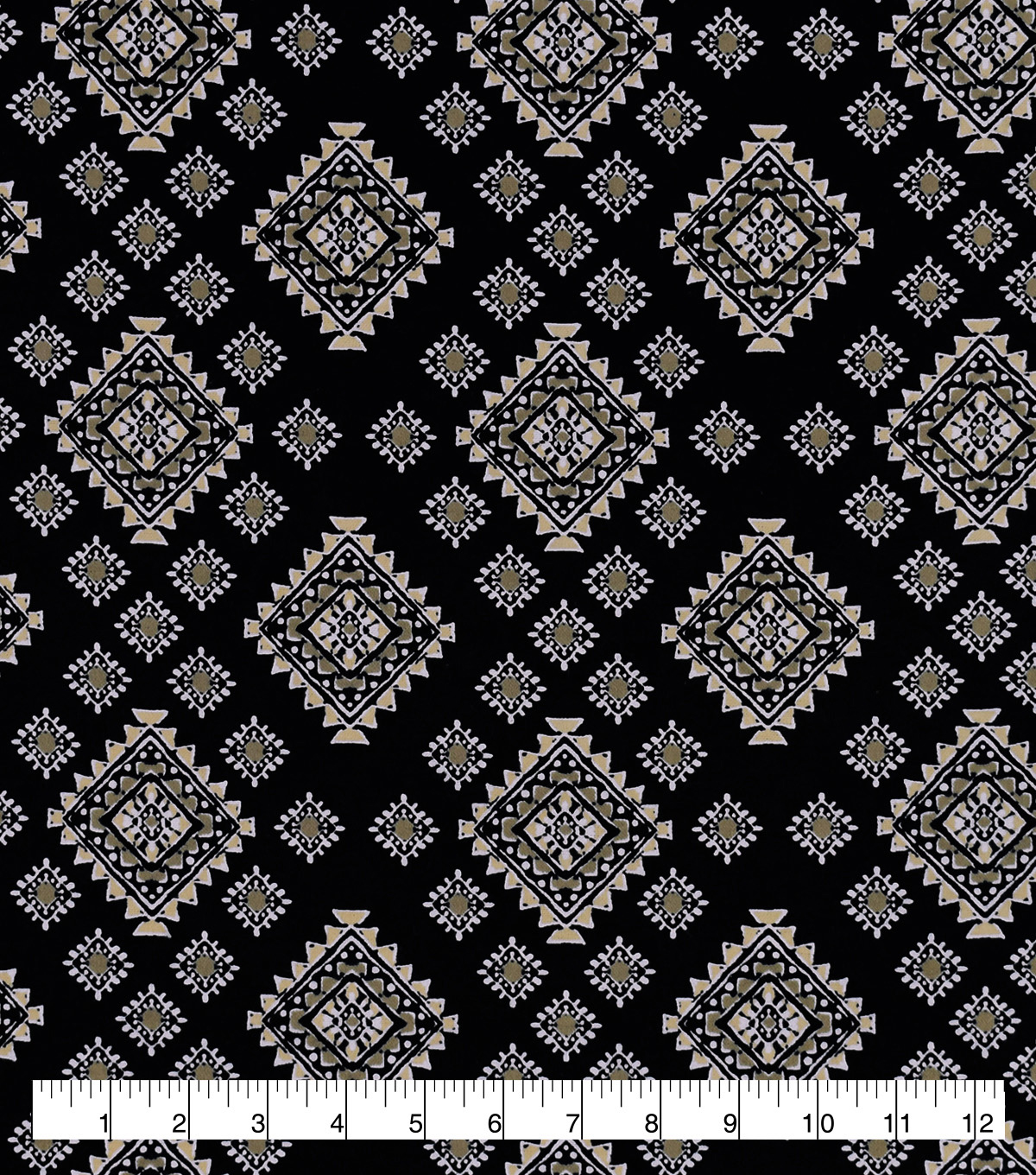 Snuggle Flannel Fabric-Aztec Tan And Black