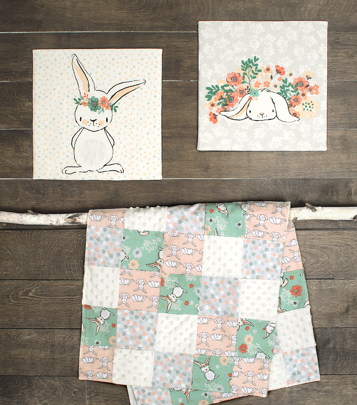 Nursery Flannel Fabric -Patch Quilt Bunny