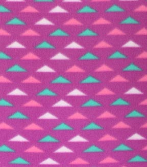 Blizzard Fleece Fabric -Pink & Green Triangles