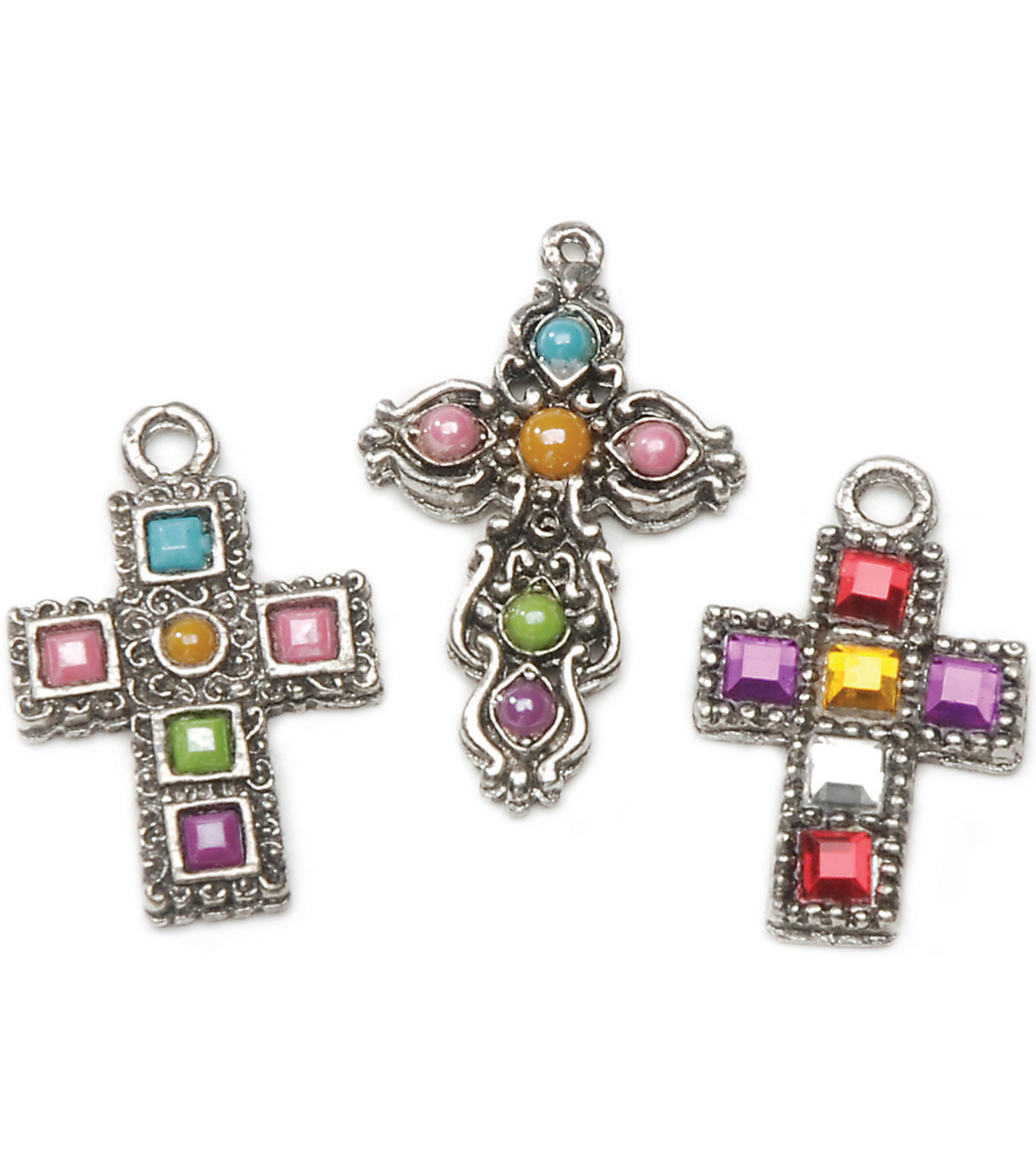 Rhinestone Cross Charms 3 Assorted/Pk-Antique Silver