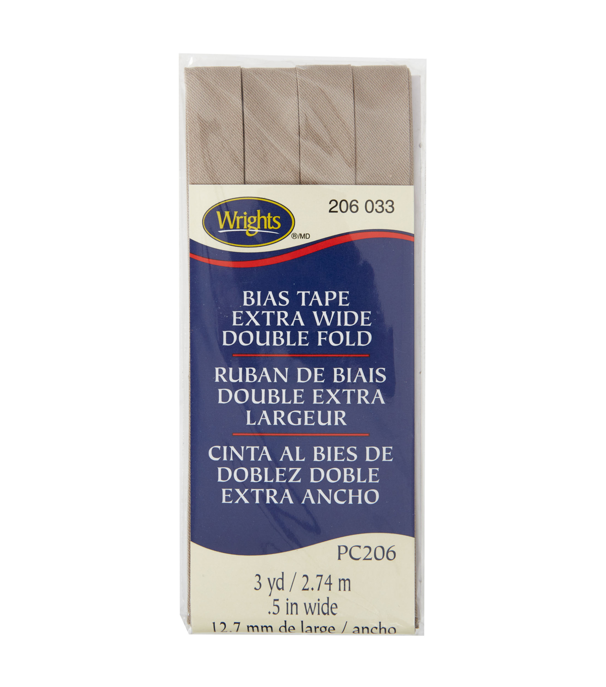 Wrights Extra Wide Double Fold Bias Tape, Foldo Taupe