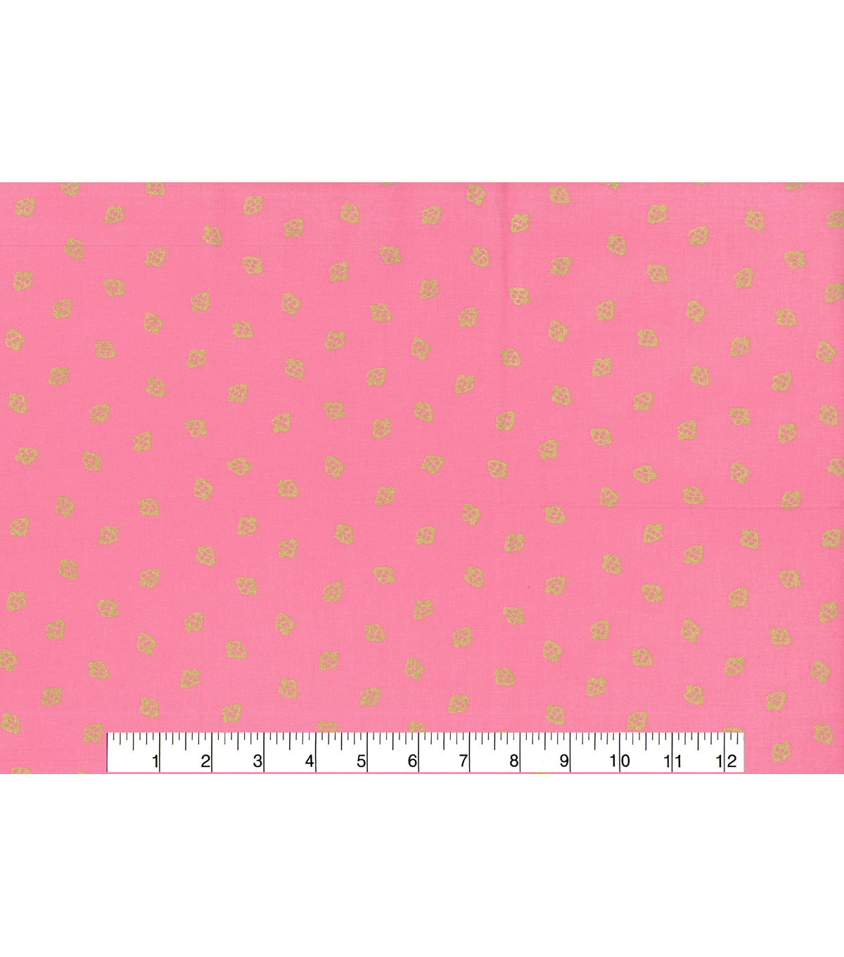 Keepsake Calico Cotton Fabric-Gold Strawberry on Pink