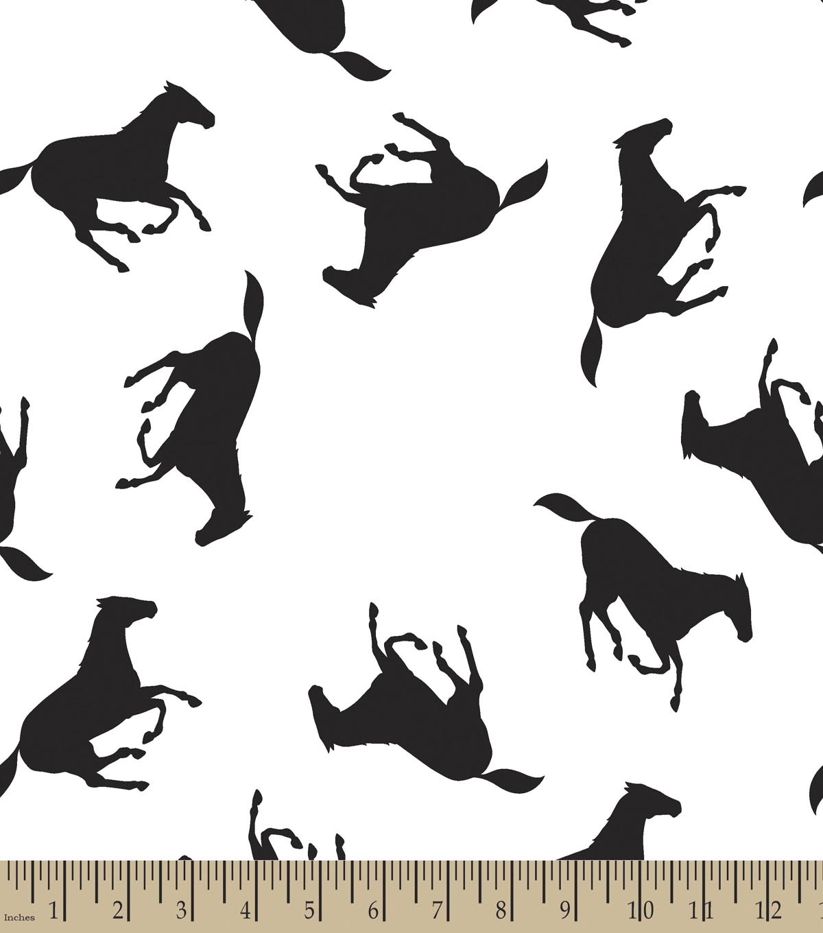 Black Stallion Horses Print Fabric