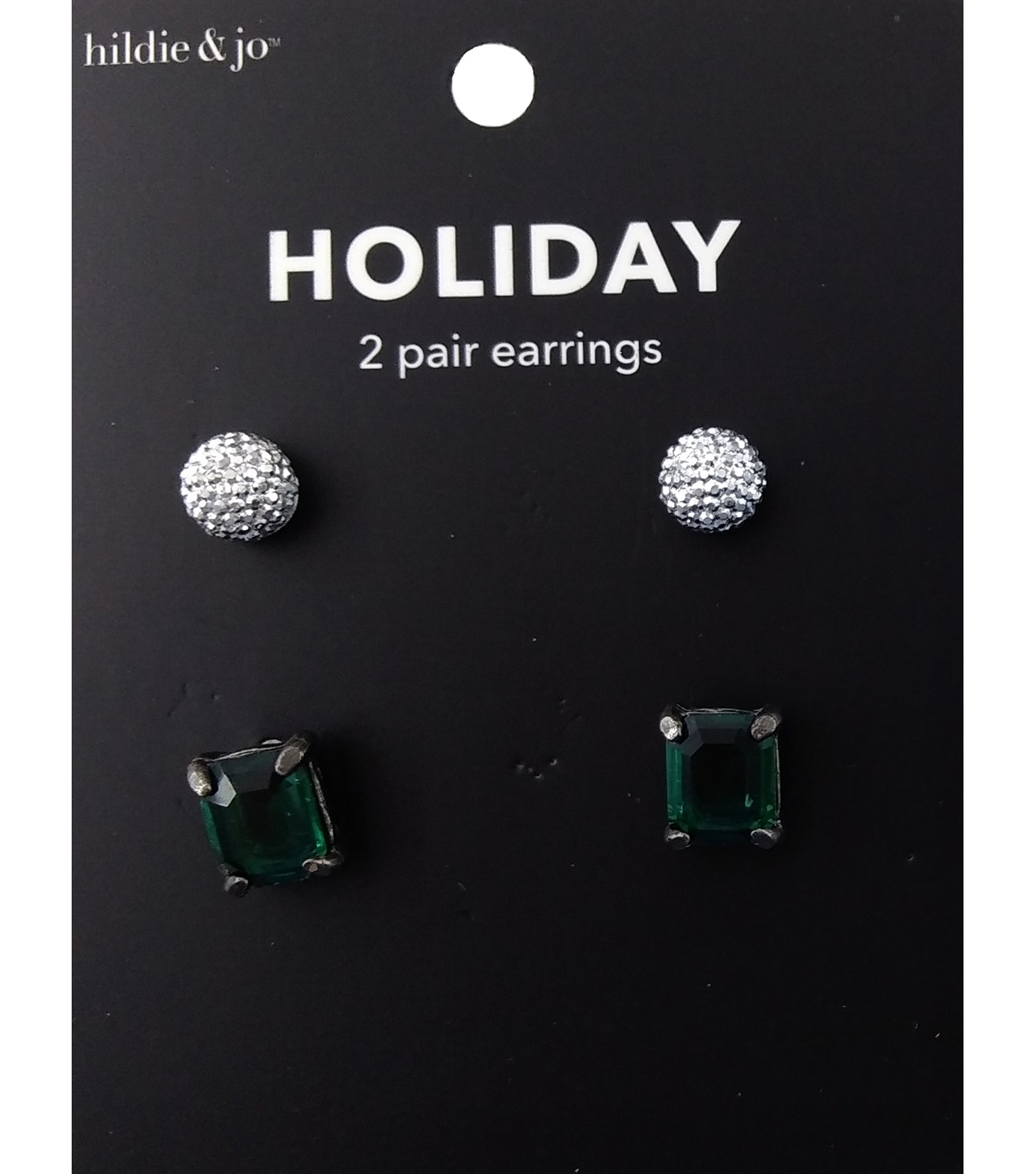 hildie & jo Holiday Earrings-Rhinestone & Jewels