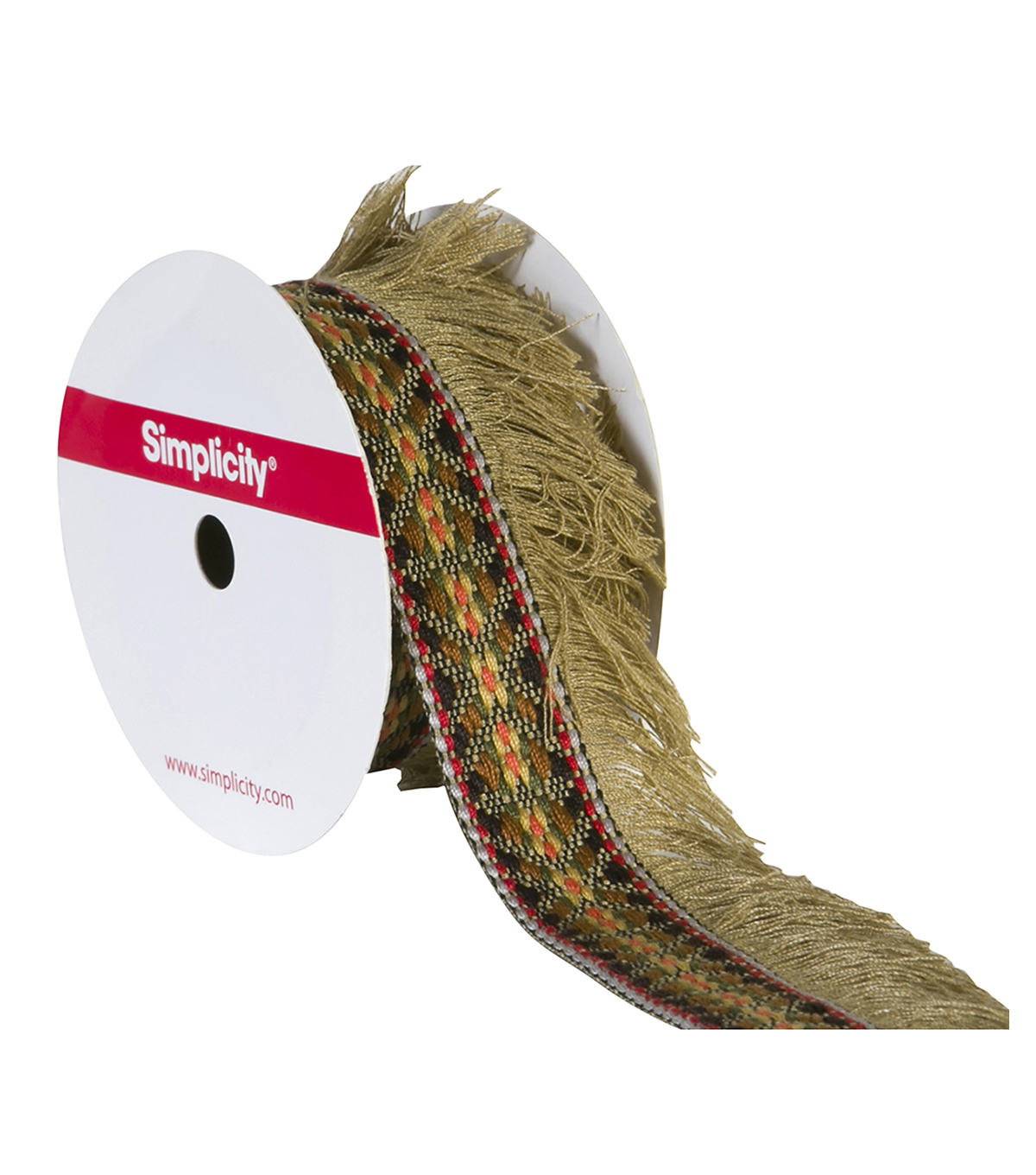 Simplicity Trims-1 3/4\u0022 Fringe Jacquard Tape Natural 3Ft