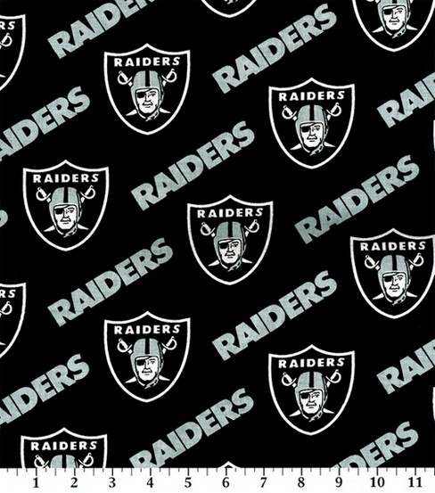 Oakland Raiders Cotton Fabric -Black