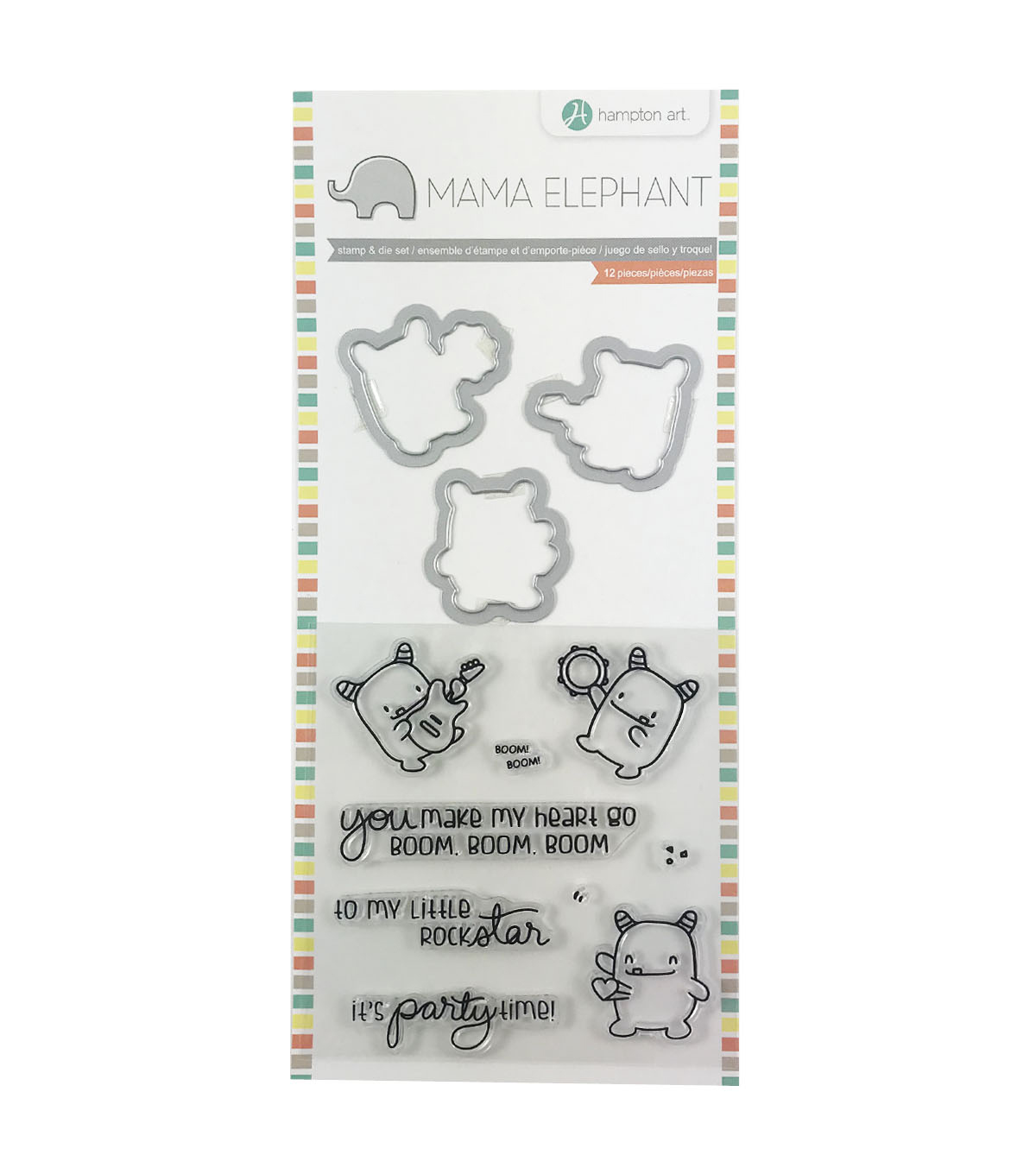 Hampton Art Mama Elephant Clear Stamp & Die Set-Rock Monster