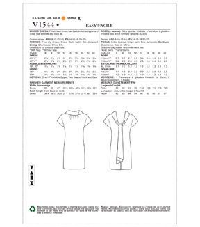 Vogue Pattern V1544 Misses\u0027 Lined Shift Dress-Size 14-16-18-20-22