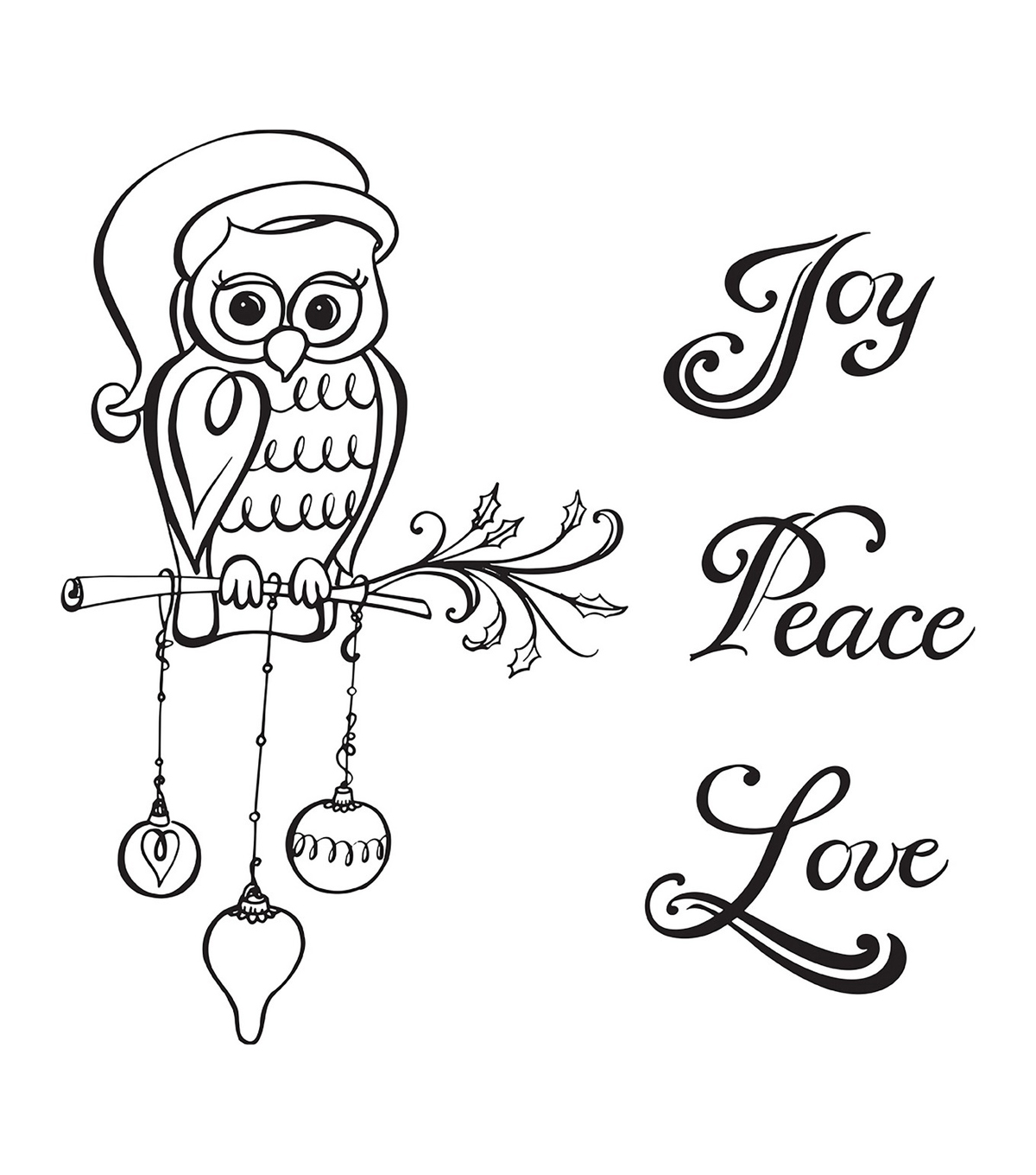 Spellbinders Zenspired Holidays 4 pk Rubber Cling Stamps-Christmas Owl
