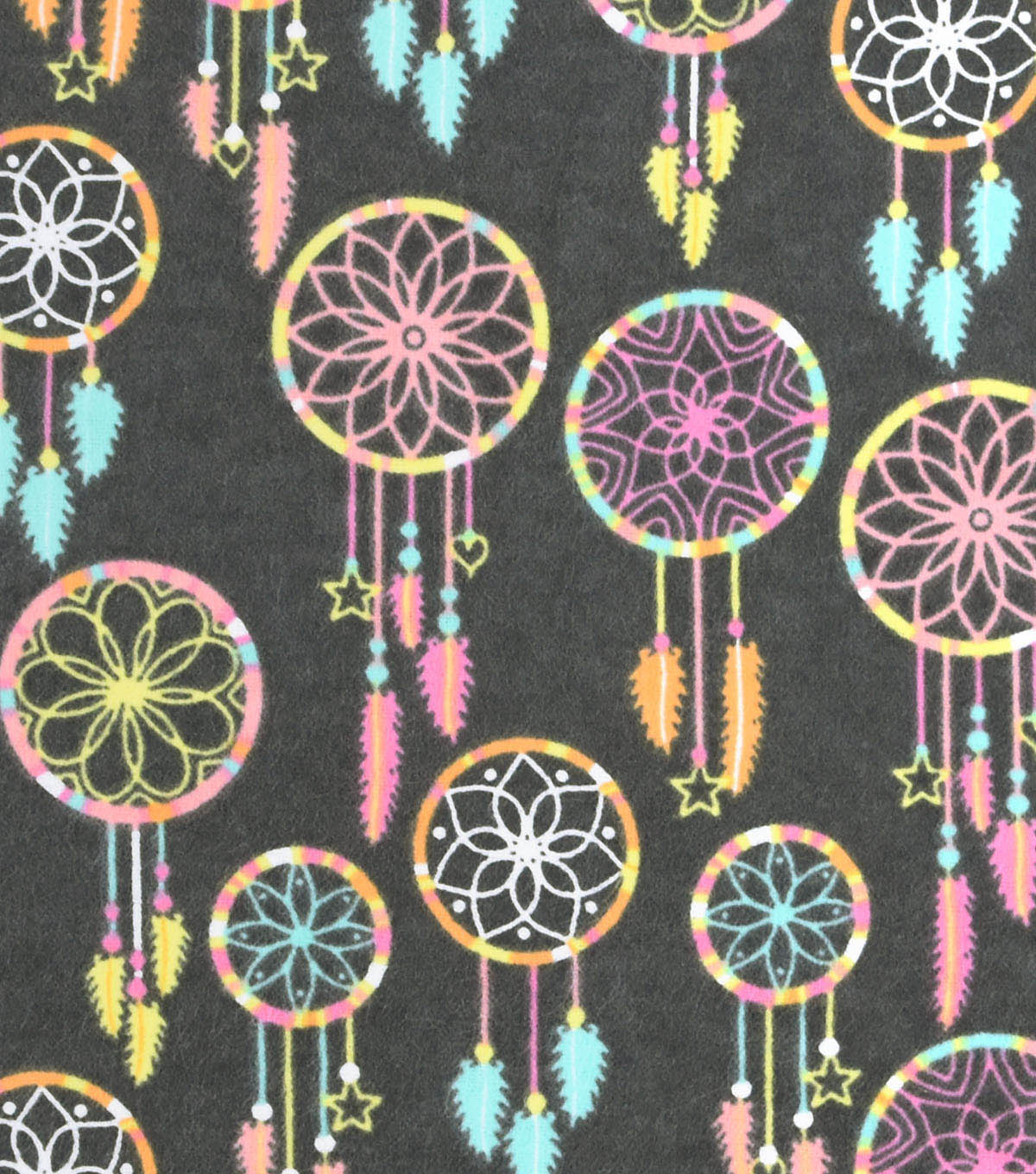 Snuggle Flannel Fabric -Pastel Dream Catchers Gray