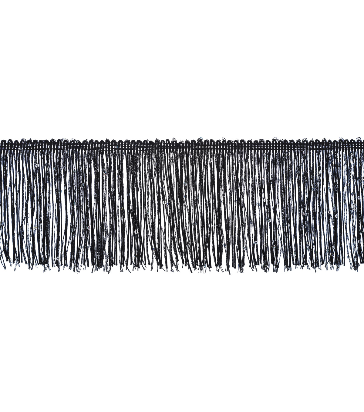 Wrights Chainette Fringe Trim with Sequins-Black