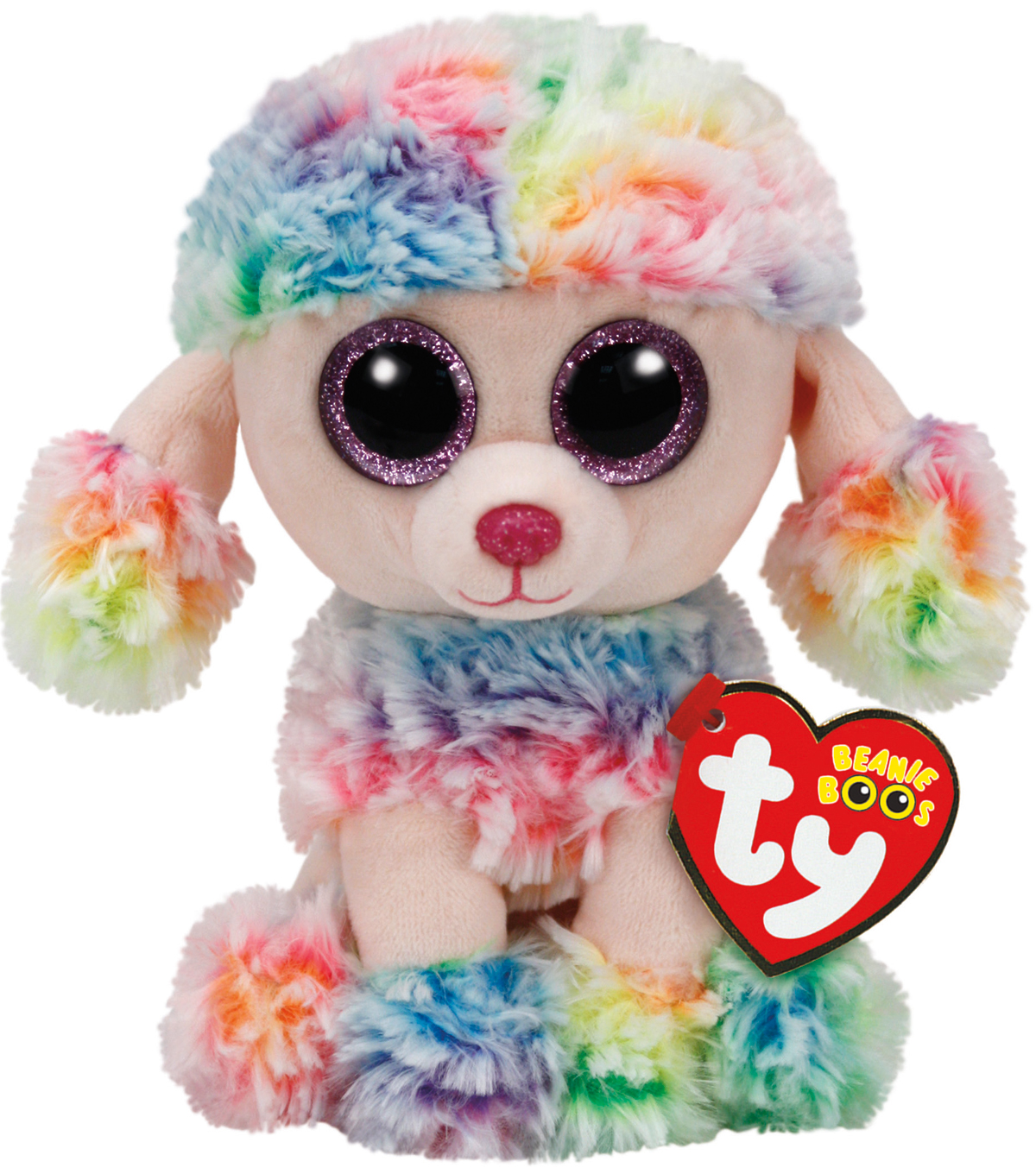 TY Beanie Boo Multicolor Poodle-Rainbow
