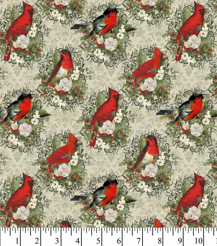 Christmas Cotton Fabric -Floral Holiday Brids