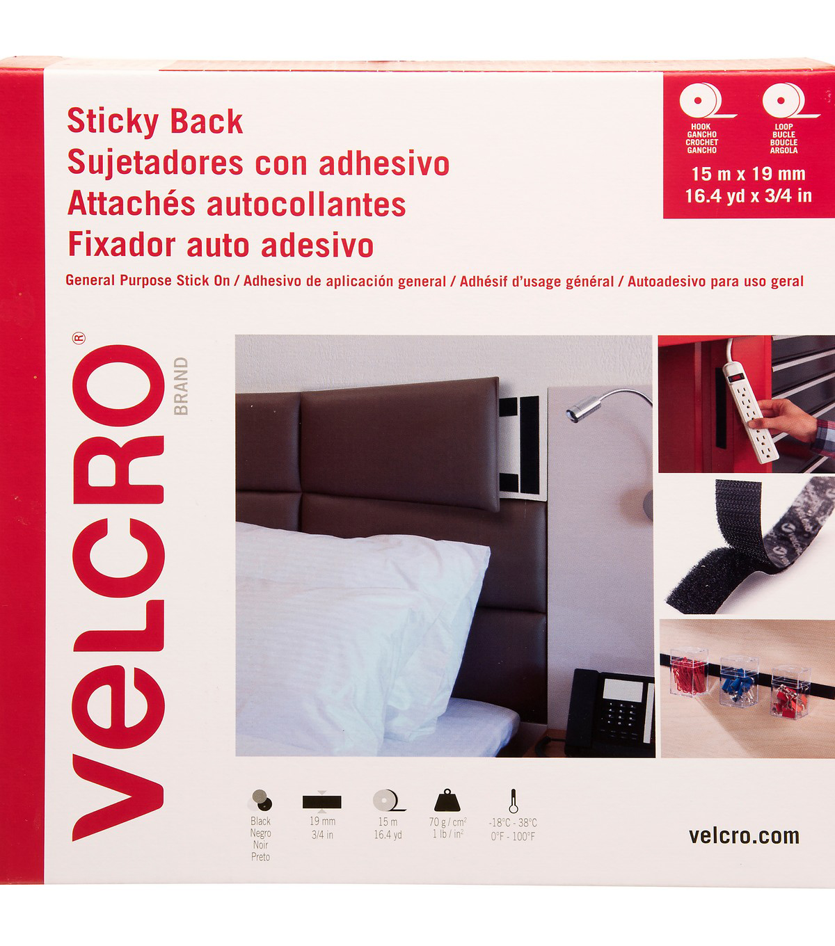 VELCRO Brand Sticky Back Hook & Loop Tape 19mmX15m-Black