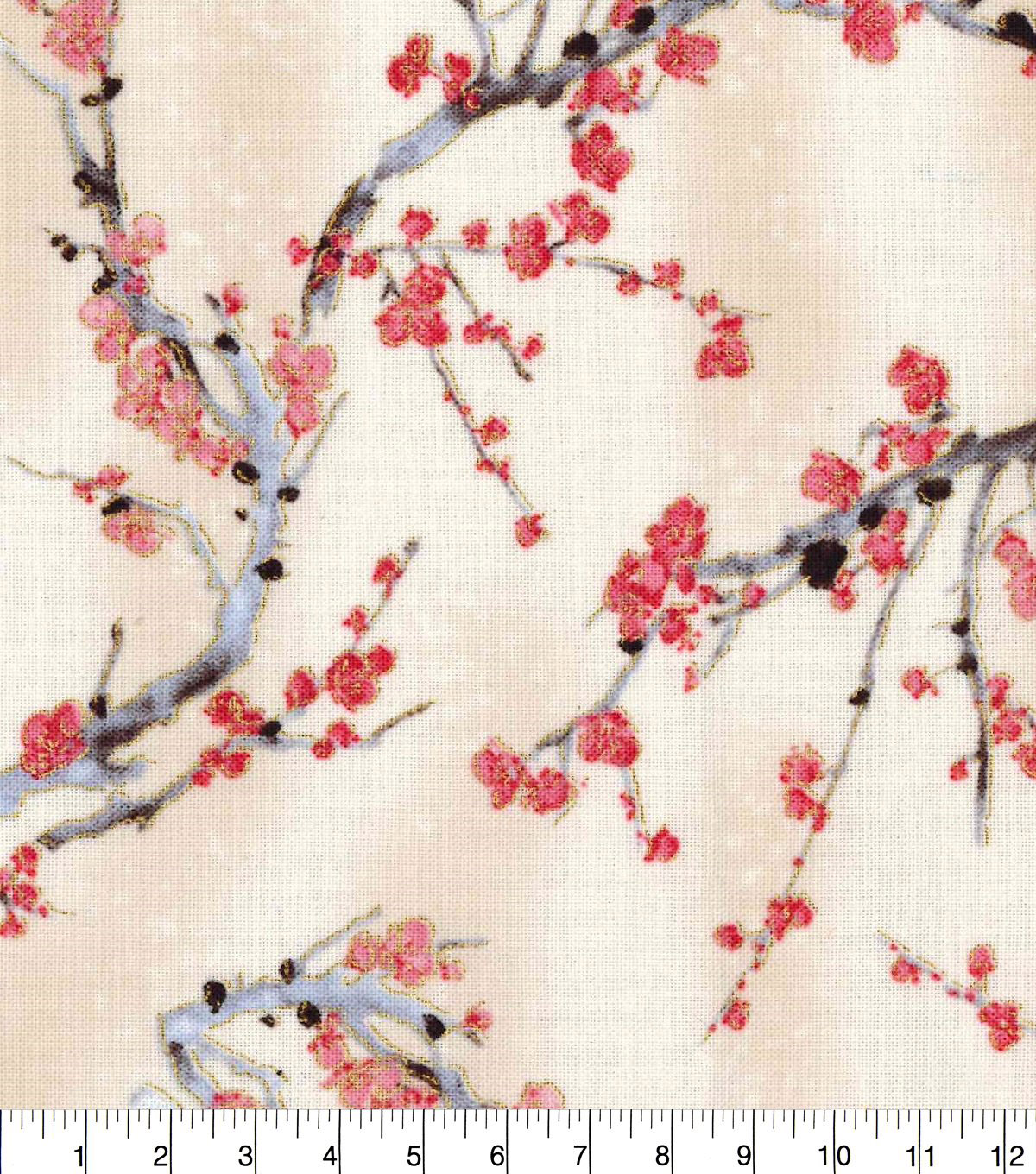 Premium Cotton Fabric 44\u0022-Cherry Blossom Trees