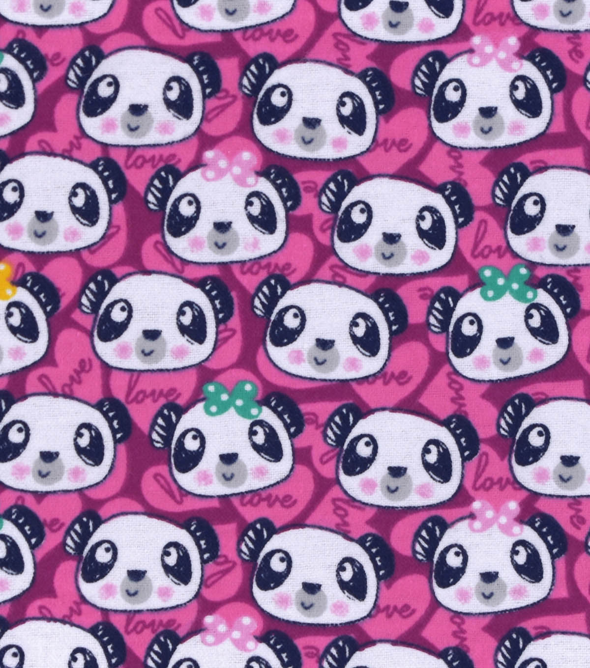 Snuggle Flannel Fabric -Panda Faces