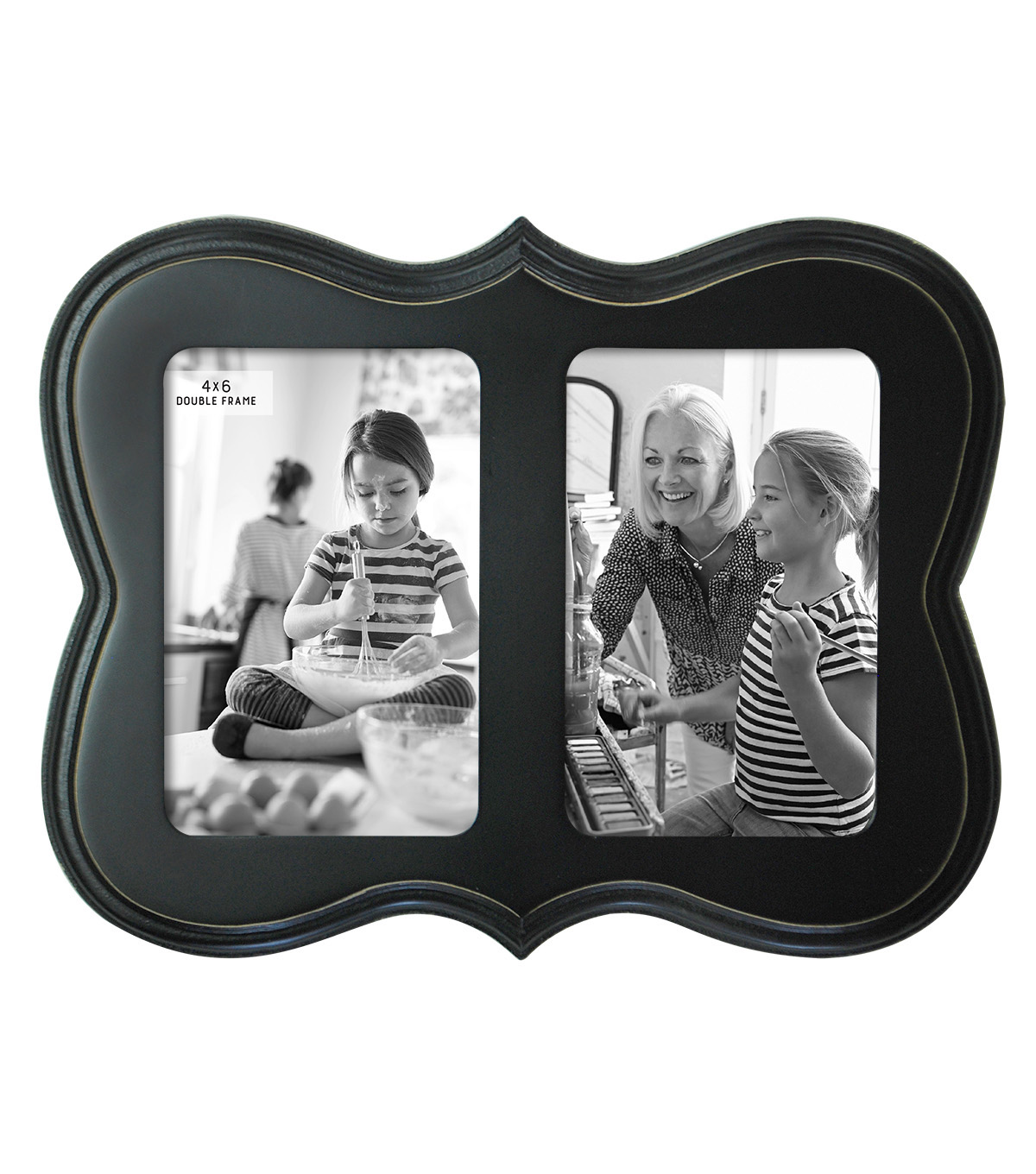 Tabletop Frame 4X6-Double Op Scallop Distressed Black