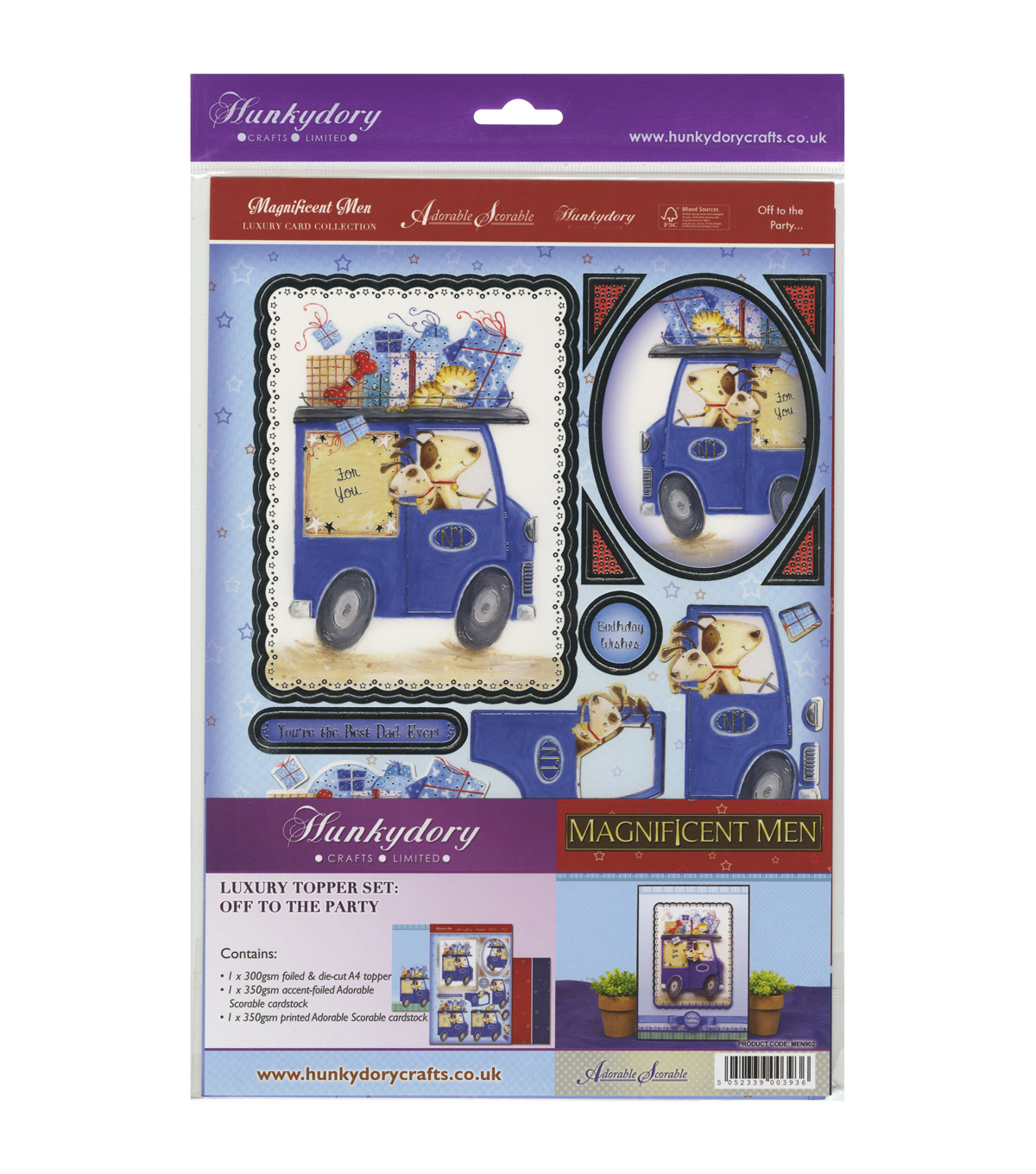 Hunkydory Crafts Magnificent Men Off To The Party Luxury Topper Set
