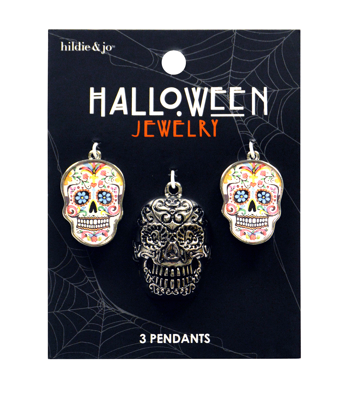 hildie & jo Halloween 3 Pack 3D Sugar Skull Pendants