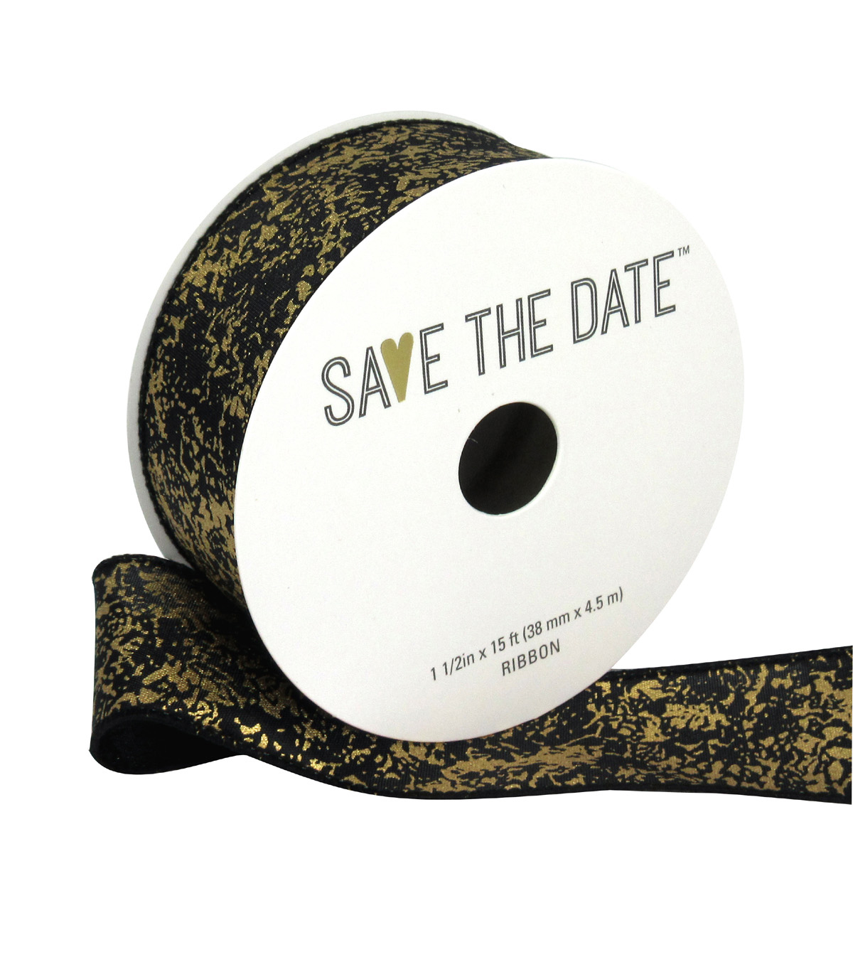 Save the Date 1.5\u0022 x 15ft Ribbon-Black And Gold Marble