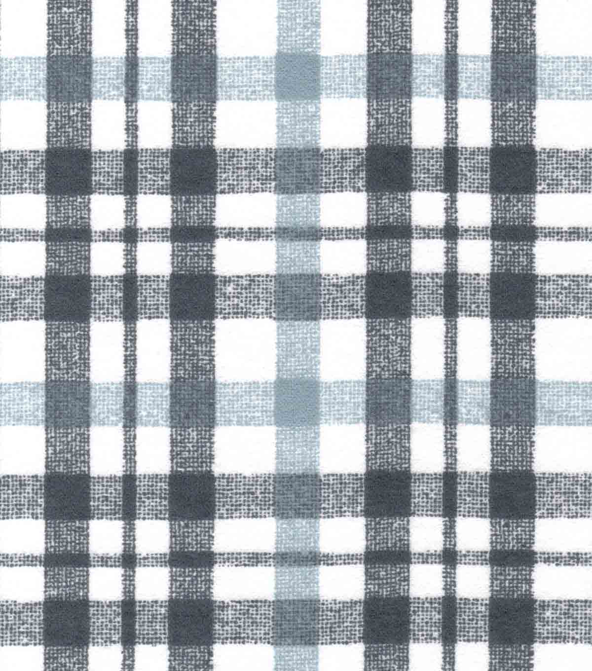 Quilter\u0027s Flannel Fabric-Gray & White Grunge Plaid