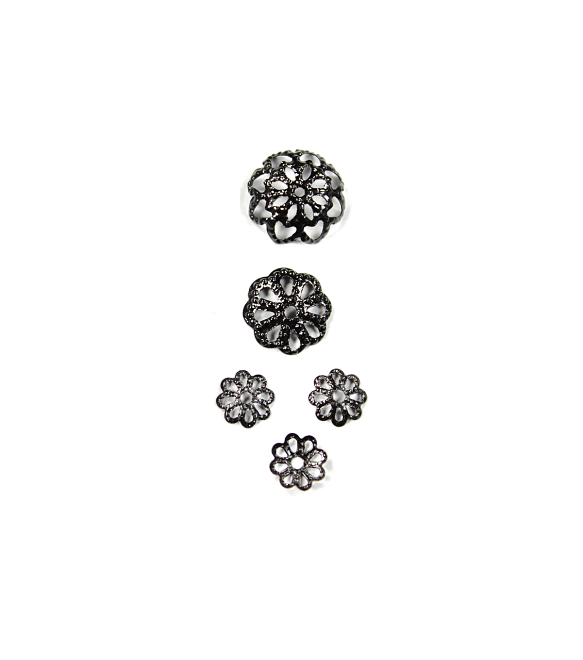 Blue Moon Findings Bead Cap Metal Multi Pack Filigree Black