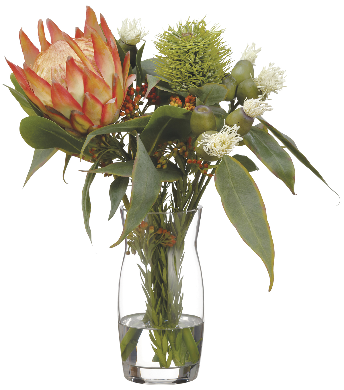 Protea, Eucalyptus & Wolly in Glass Vase 16\u0027\u0027-Orange & Green