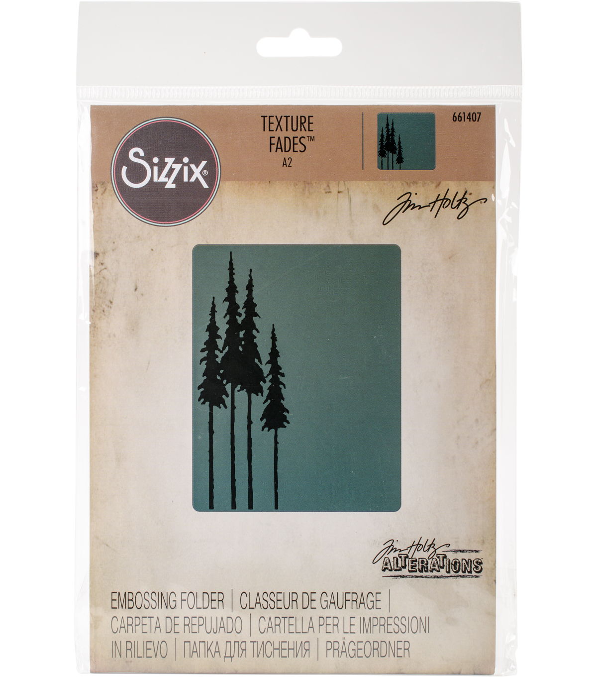 Sizzix Texture Fades A2 Embossing Folder-Tall Pines