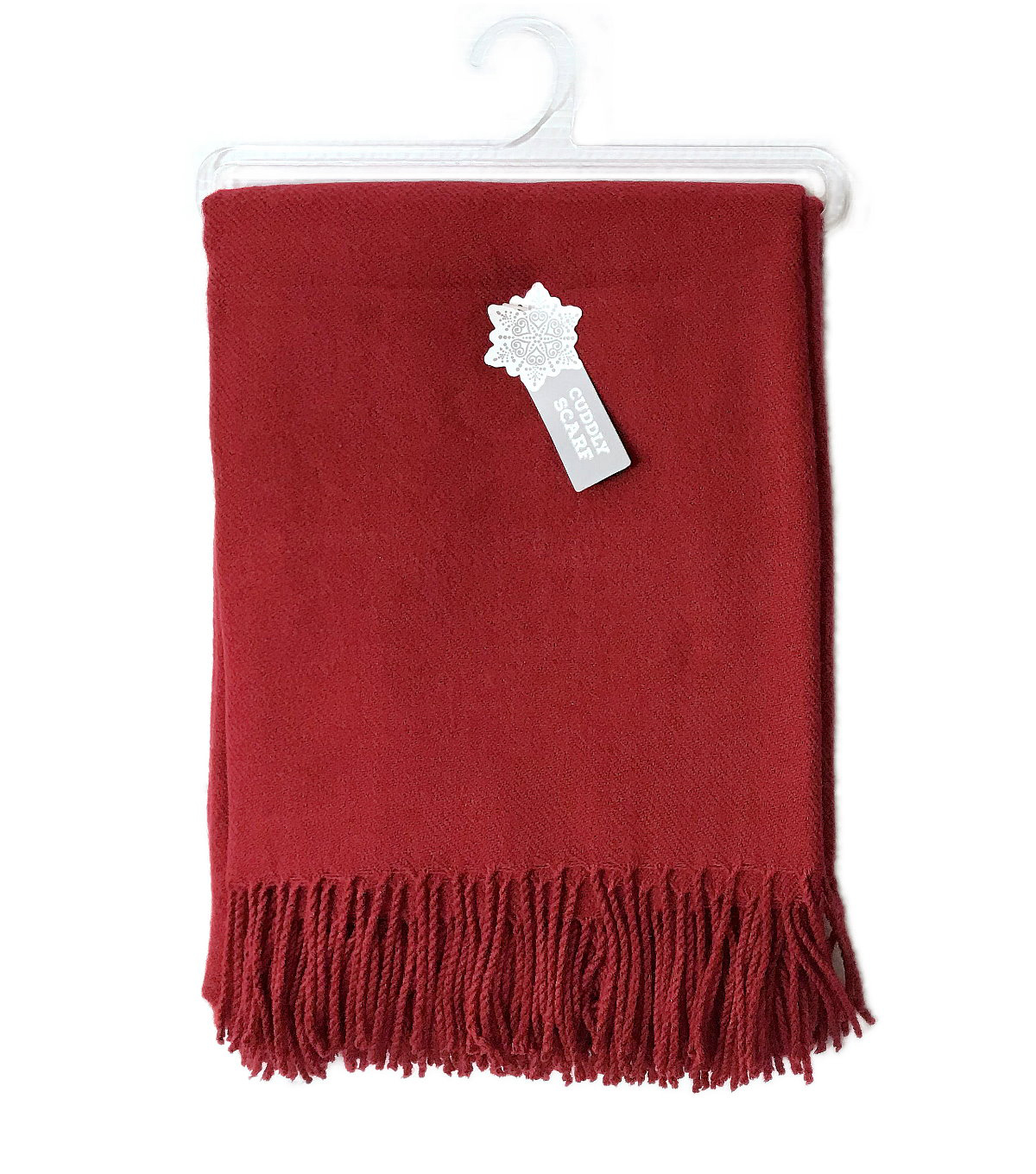 Christmas Cuddly Blanket Scarf-Red Solid