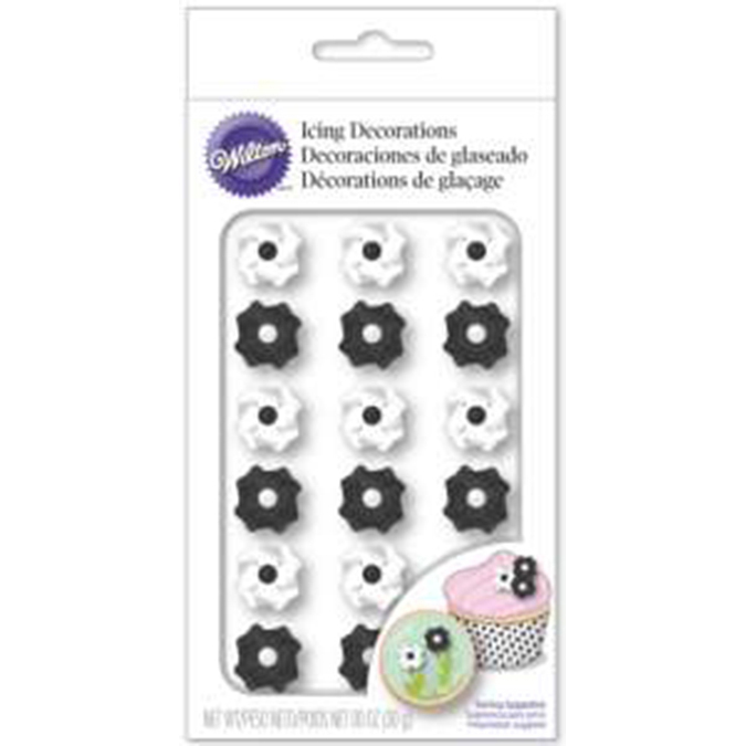 Wilton Royal Icing Decorations-Black And White Flower 18/Pkg