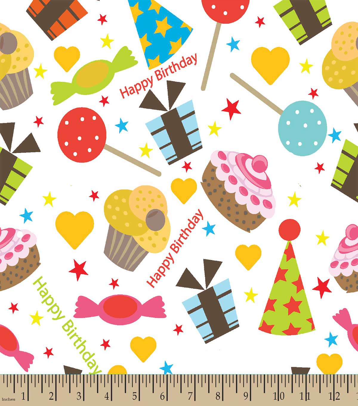 Happy Birthday Treats Print Fabric