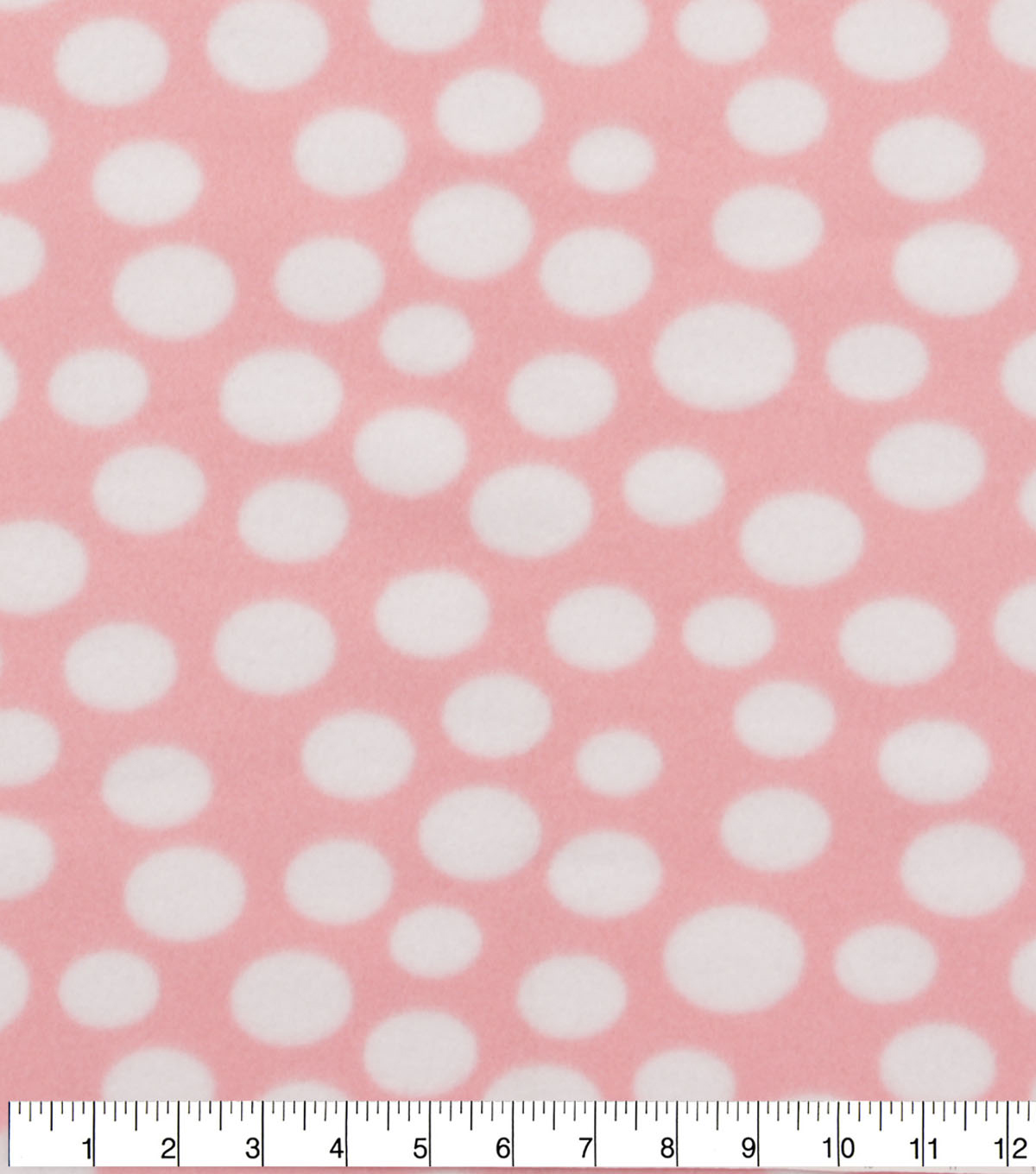 Blizzard Fleece Fabric -White Dots on Light Pink