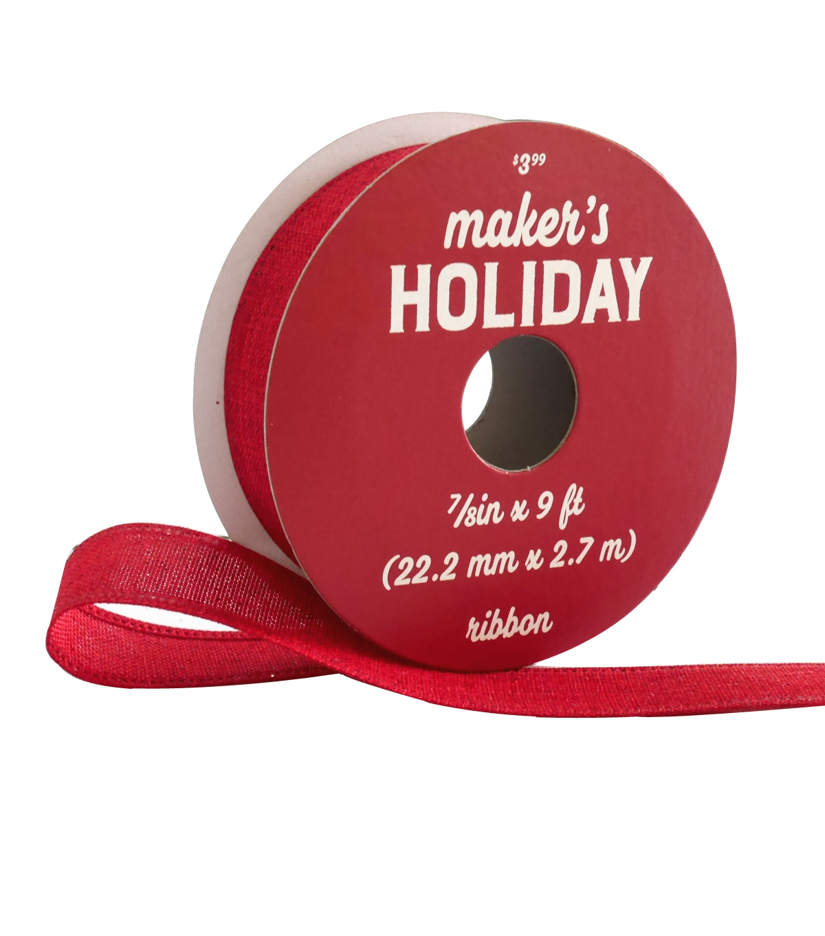 Maker\u0027s Holiday Woodland Lodge Solid Ribbon 7/8\u0027\u0027x9\u0027-Natural Red