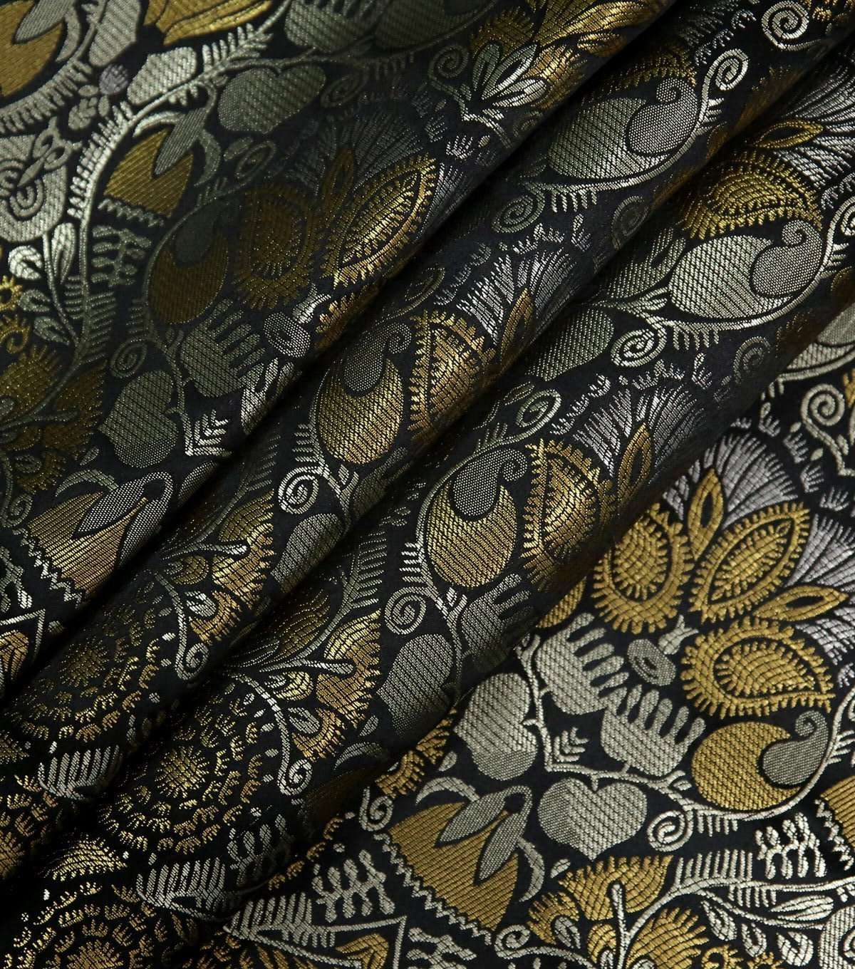 Brocade Fabric-Metaliic Leaves