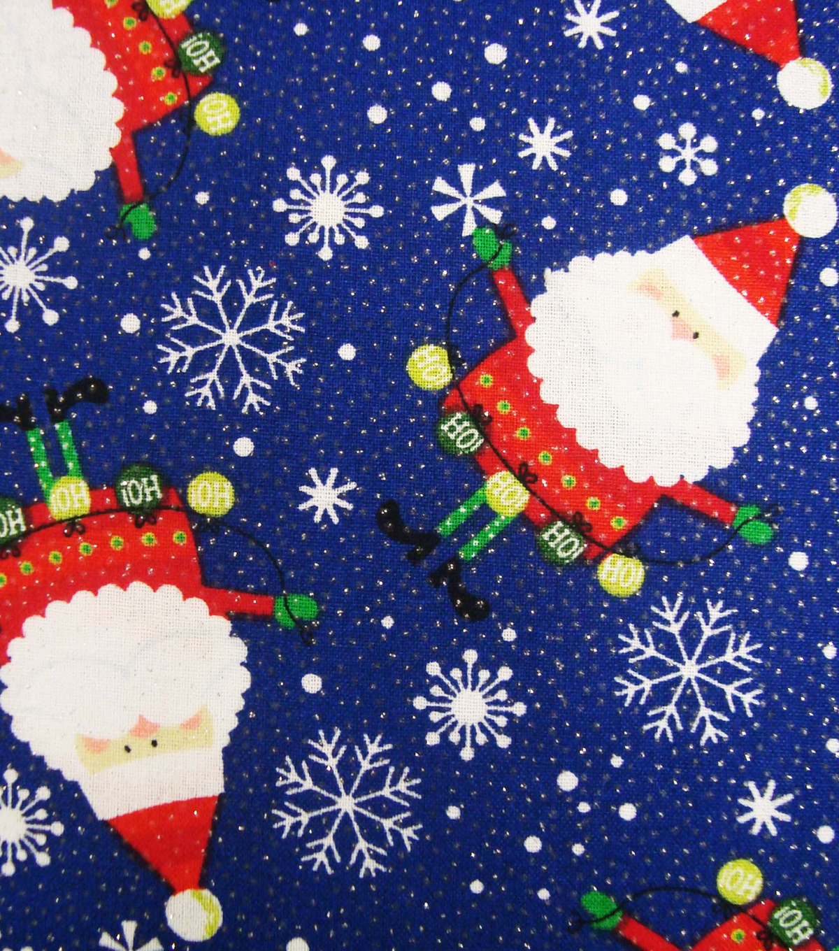 Keepsake Calico Holiday Cotton Fabric 43\u0022-Santa and Ornaments