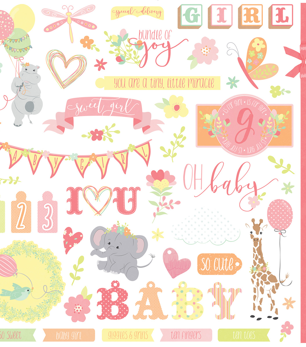 About A Little Girl Stickers 12\u0022X12\u0022-Elements