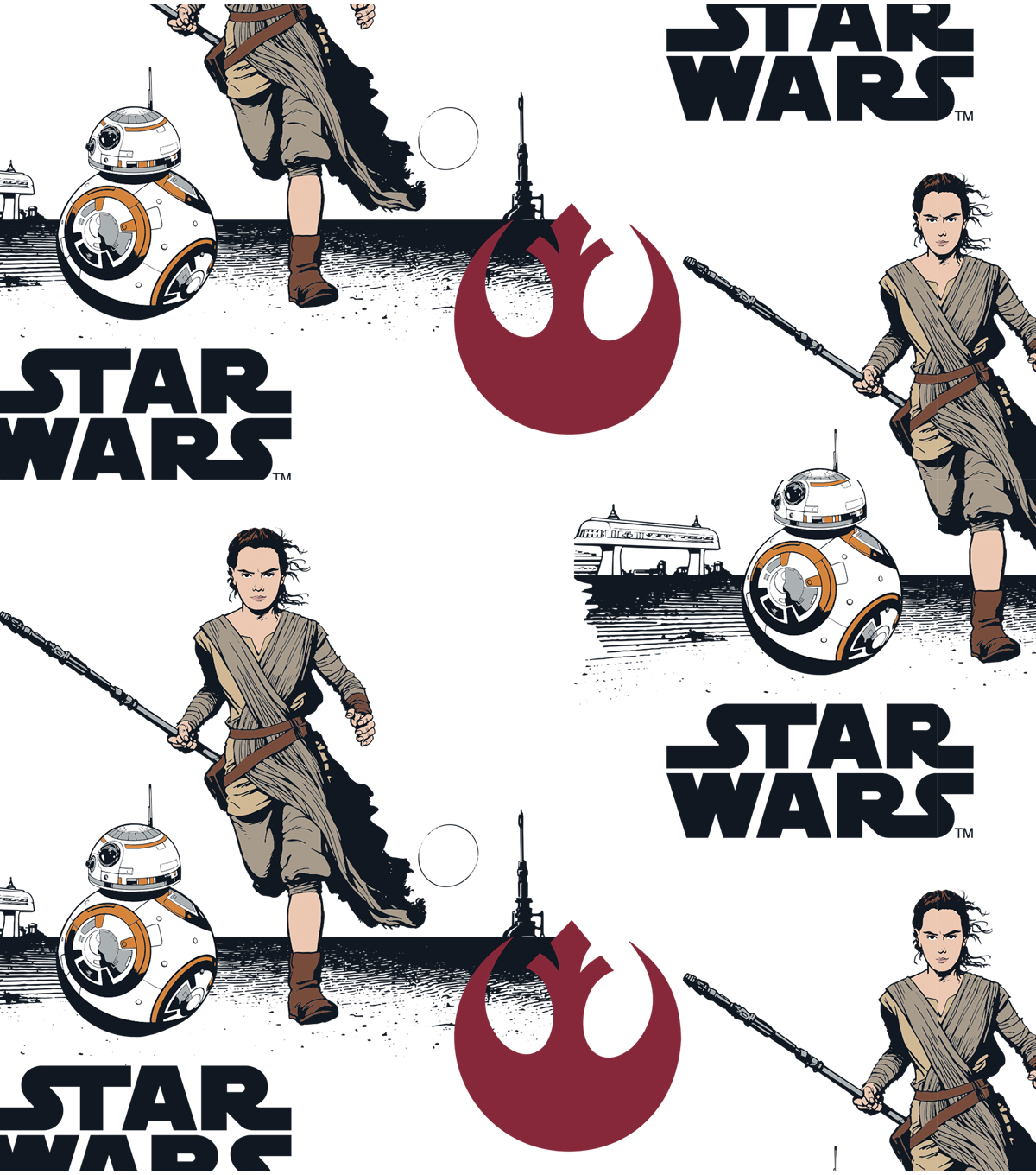 Star Wars The Force Awakens Flannel Fabric Rey BB8