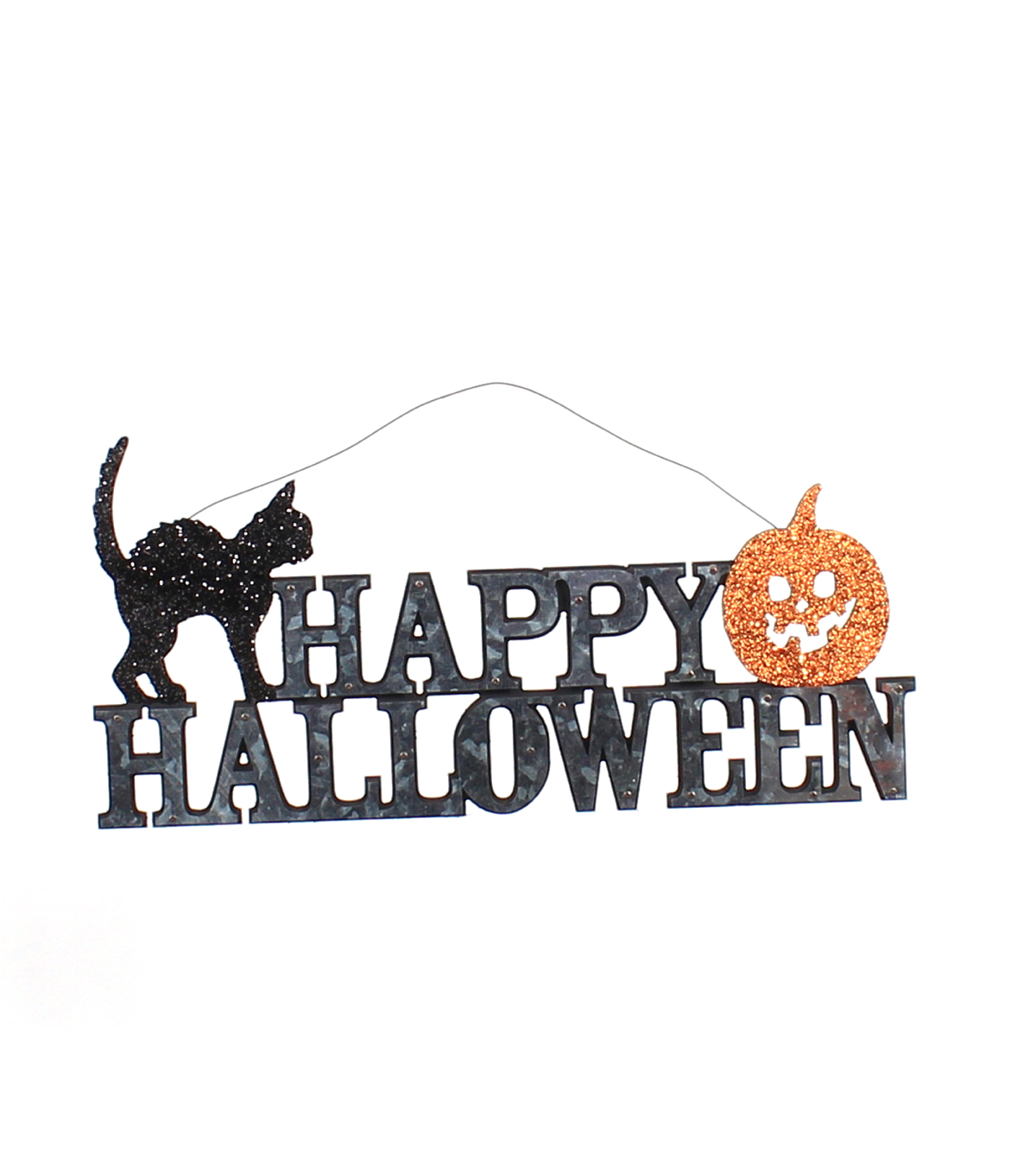 Maker\u0027s Halloween Galvanized Wall Decor-Happy Halloween