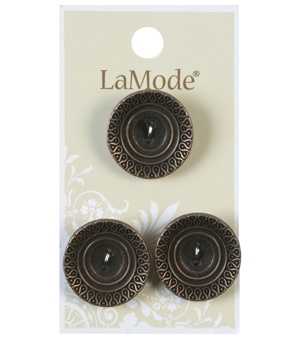 LaMode 2 Hole Antique Gold Metal Cupped Buttons 22mm