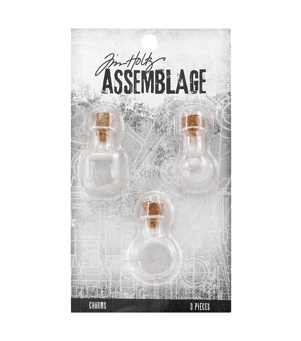 Tim Holtz Assemblage Pack of 3 Glass Vials Charms