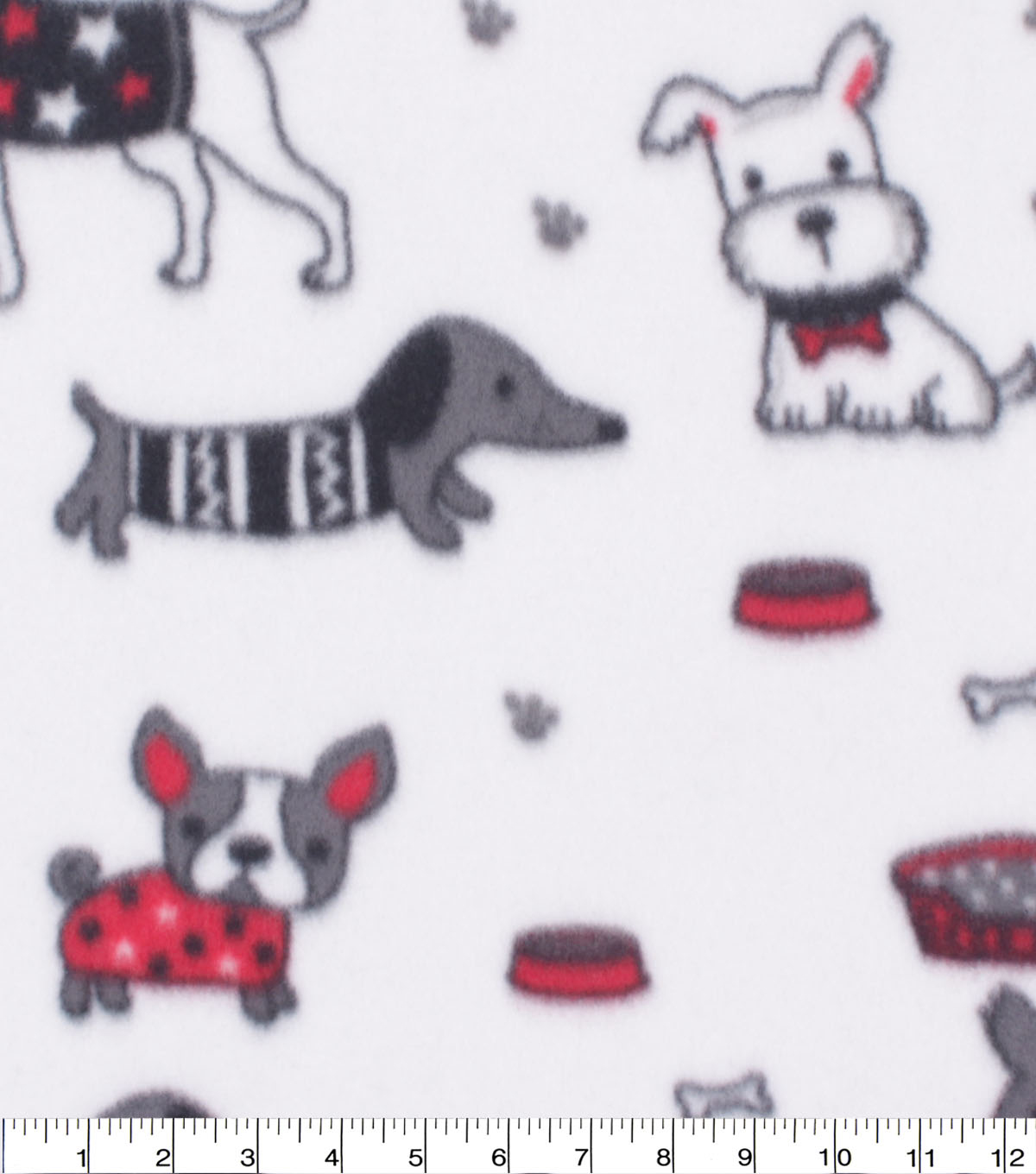 Blizzard Fleece Fabric-Puppies on Black & White