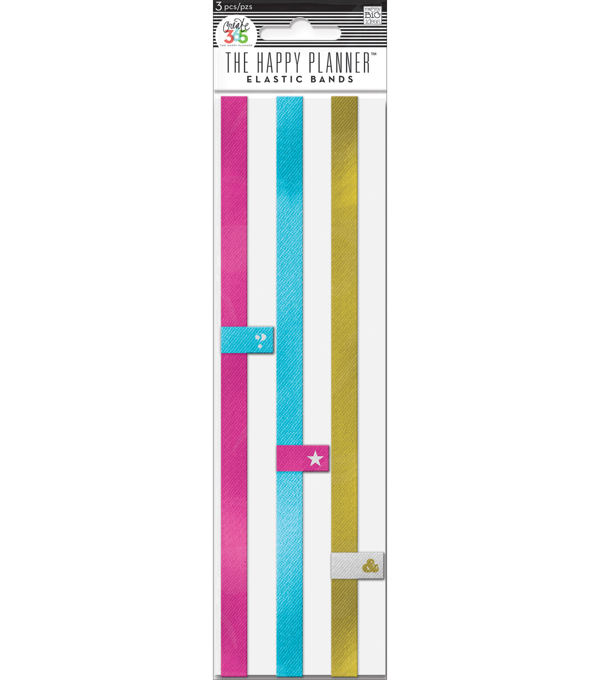 The Happy Planner 3 Pack Elastic Bands-Pink,Teal & Gold