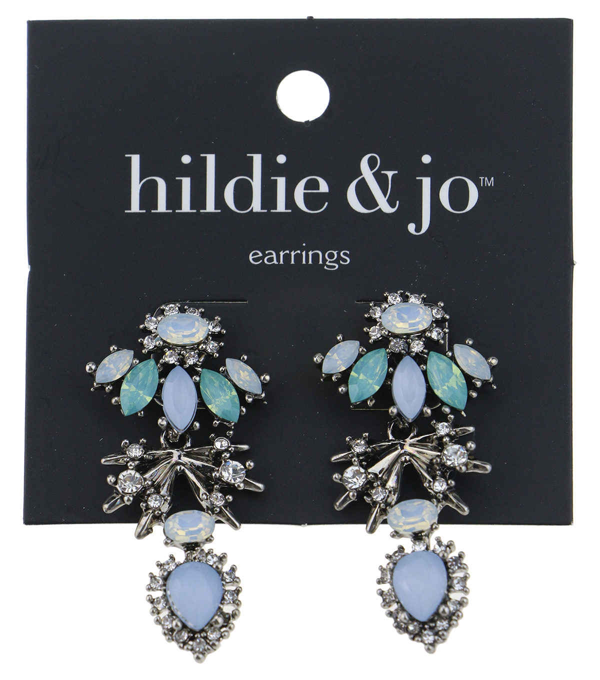 hildie & jo Silver Earrings-Green, Blue & Clear Crystals