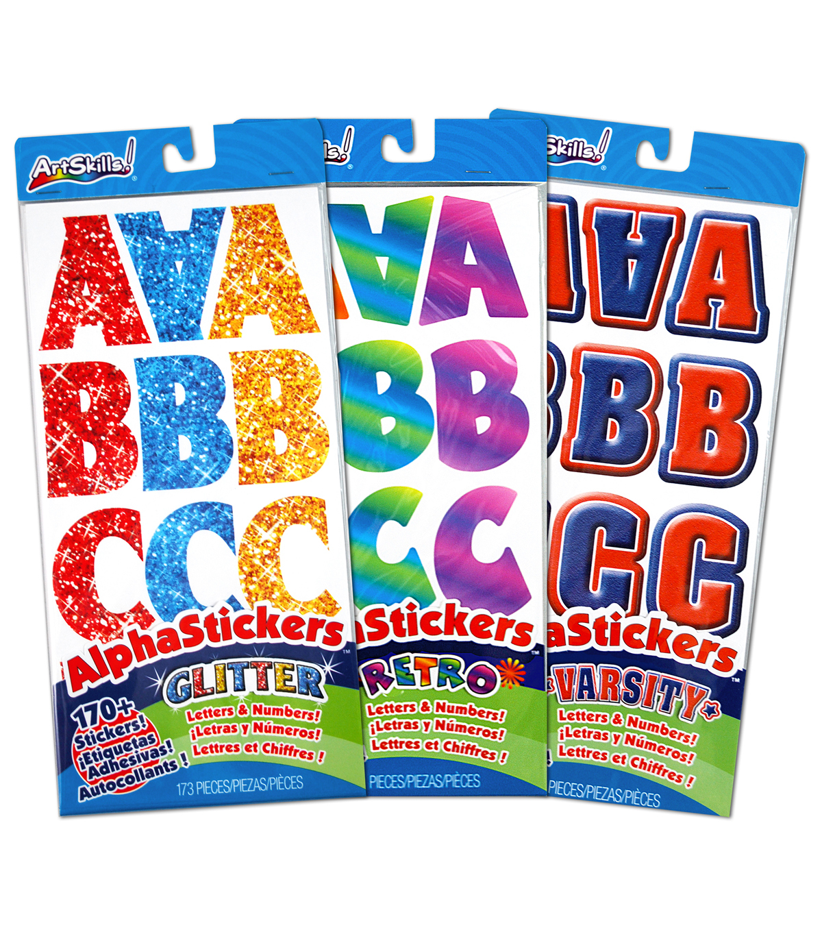 Alpha Stickers Letters & Numbers 170/Pkg-Assorted Retro/Glitter ...
